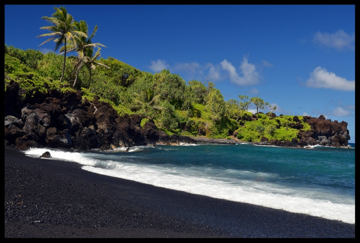 Black Sand Beach in Hana Maui