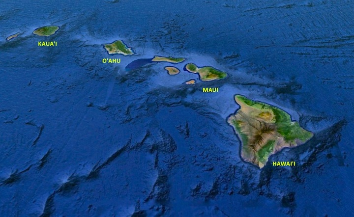 The view of the Hawaiian Archipelago from Above