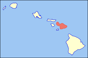 Maui Island highlighted on the map